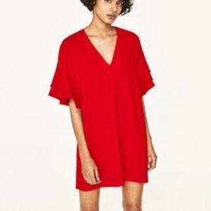 Zara Frill ruffled red dress size small